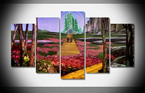 (My Canvas Art 5pcs Wizard of Oz Artwork Prints for Living Room Home Decoration Framed Ready to Hang)