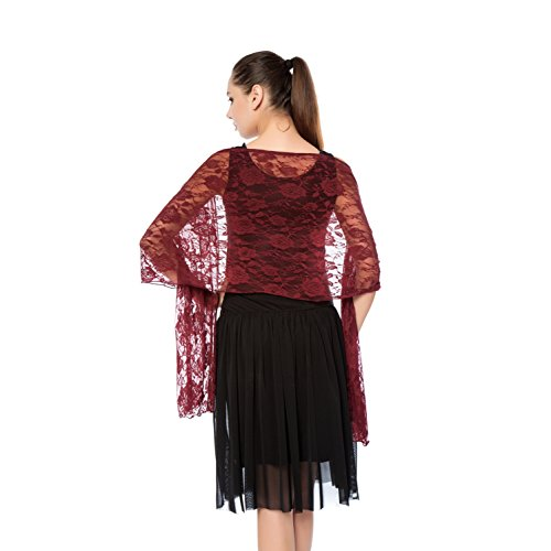 Women Lightweight Rose Lace Shawl, Gzcvba Bridal Evening Party Wrap Scarf (Wine Red)