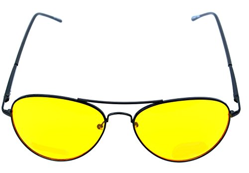 Unisex Spring Temple Aviator Yellow HD Night Driving Glasses, Rounded Black