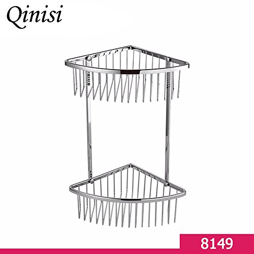 Qinisi Bathroom Brass 2-Tier Corner Shelf Basket Bath Shower Caddy Storage Organizer Holder Rack Heavy Duty Wall Mounted, Chrome Finish by qinisi