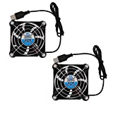 WINSINN 80mm USB Fan 5V for DIY PC Computer Case Receiver DVR Playstation Xbox Cooling - 0.25A 1.25W 4700+-10% RPM (Pack of 2Pcs)