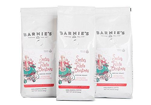(Barnie's Santa's White Christmas Ground Coffee | Coconut, Caramel and Vanilla Flavored Coffee | Nut Free, Gluten Free, Fat Free | Medium Roasted Arabica Coffee Beans | 3-Pack)