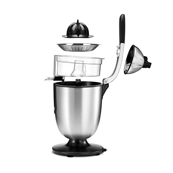 Citrus juicer 4 No extra piece to storage 1-size-fits-all juicing cone provides maximum juice extraction Filter integrated filter captures pits for richer and cleaner juice extraction Easy press rubber handle press with soft grip - stop and reducing pressure on the hand