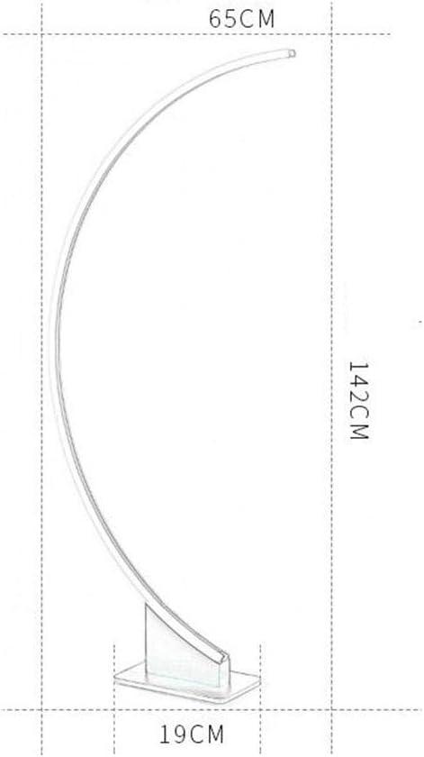 Dimmer remoto,Marrone Lampade Da Terra Piantana Pavimento 52W LED Fonte Di Luce 142*65*19 Cm Lega Di Alluminio Corpo Leggero Acrilico Paralume Arco Linea Telecomando Oscuramento Invia Adattatore