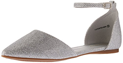 DREAM PAIRS Women's Flapointed-New Pump, Silver Glitter, 9 M US by DREAM PAIRS