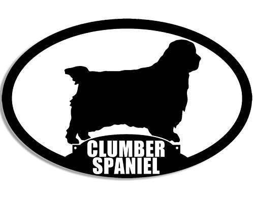 MAGNET Oval CLUMBER SPANIEL Silhouette Magnetic Sticker (dog breed)