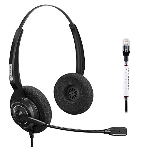 Arama Hands-free Headset Binaural with Noise Canceling Microphone for Telephone Systems with Plantronics M10 M12 M22 MX10 Amplifiers or Cisco 7941 7975 Office IP Phones(A200DFC)