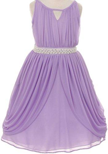 Big Girls' Sleeveless Chiffon Rhinestone Pearl Easter Party Flower Girl Dress Lilac 8 K20K71