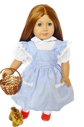 Halloween Dorothy Costume for American Girl Dolls-Includes Wicker Basket-Toto and Shoes
