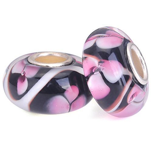 RUBYCA Pink Flower Murano Glass Charm Beads Silver Color Core fit European Bracelet Jewelry Making 6pcs ()