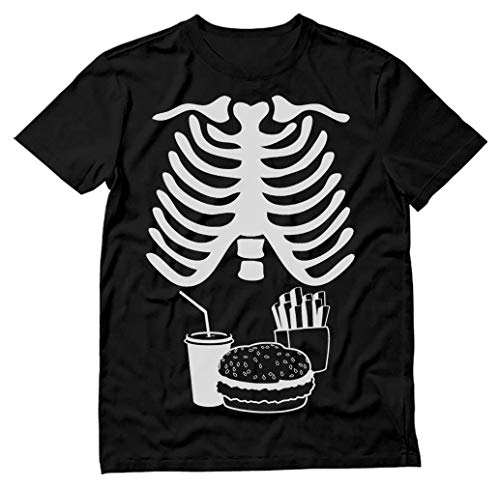 Halloween Skeleton Ribs Food (Halloween Rib Cage Skeleton Junk Food Belly Xray Funny Men's T-Shirt Medium)