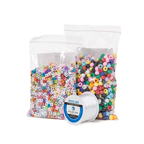 Pony Beads Bundle | 1000 Multi-Color 6x9 mm Pony Beads and 1000 (4 Variations) Full Alphabet 6x6mm Letter Beads | Resealable Bags | with Bonus 164 Foot Jewelry Cord ()