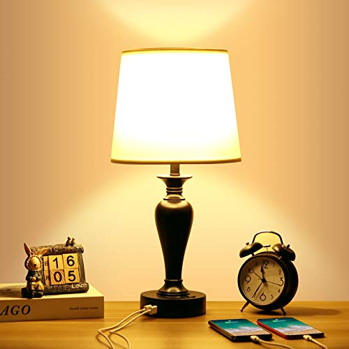 Zermurd Touch Control Table Lamp, 3 Way Dimmable Bedside Lamp with Two USB Ports Bedroom Touch Lamp White Shade Brown…