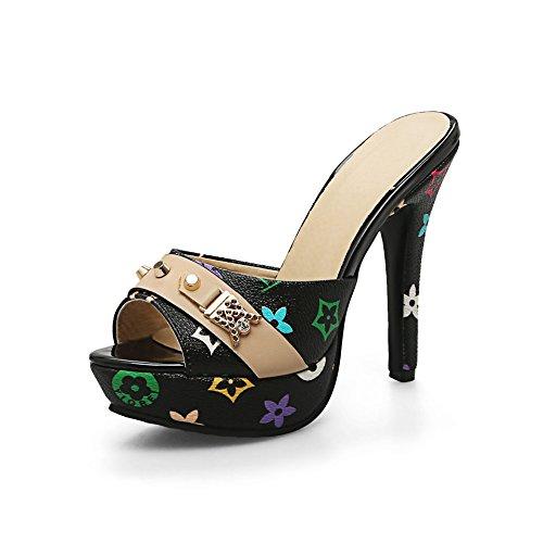 Black de Aguja Sandalias QIN amp;X La Tacones de Plataforma Mujer Peep Toe xxIXPB