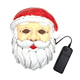 S WIDEN ELECTRIC Santa Claus EL Wire Mask Flashing Cosplay LED Light Mask Costume Anonymous Mask Glowing Dance Carnival Party Masks Christmas Decoration