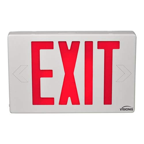 Visionis VIS-ESR - 6 Inch - Red Exit Sign Light LED - Double Sided - 90 Minute Battery Backup - UL924 Listed