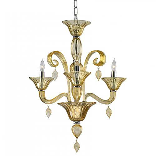 Treviso Three Light - Kathy Kuo Home Treviso 3 Light Cascade Amber Murano Glass Mini Chandelier