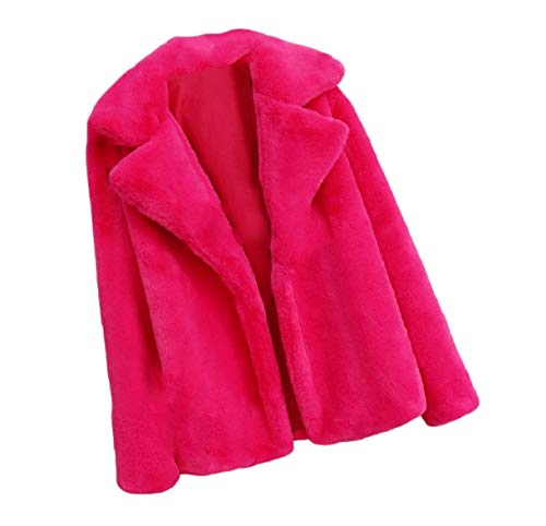 Solid Size Fall Rose Turn Down Plus Women Red Howme Color Fluffy Coat Collar Top watx6ZBq