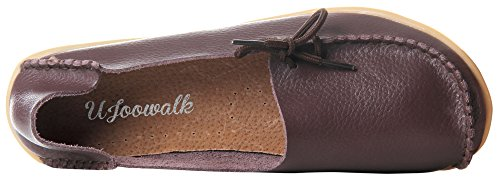 Leather Casual Dark Cowhide Loafers Up Serene Brown Flat Womens Driving Lace HwT5SRgq