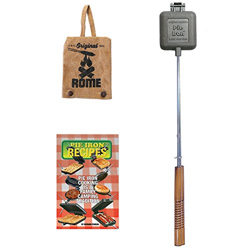 """Rome Industries Square Pie Iron Gift Set with Recipe Book & Canvas Pie Iron Cover, 28"""", Gray"""