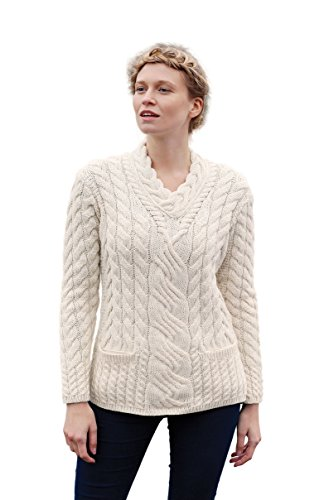 (Aran Woollen Mills Ladies Irish Crossover V-Neck Merino Wool Sweater (Medium))
