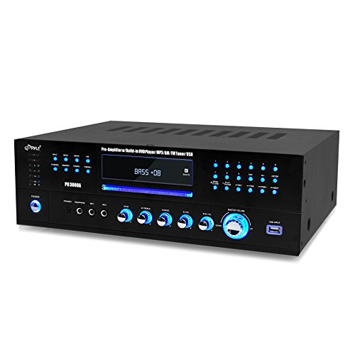 Pyle Home PD3000A Theater Preamplifier Receiver, Audio/Video System, CD/DVD Player, AM/FM Radio, MP3/USB Reader, 3000 Watt