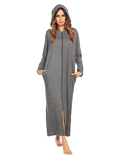 Ekouaer Womens soft robes Zipper Front Bathrobes, Charcoal Grey, Small