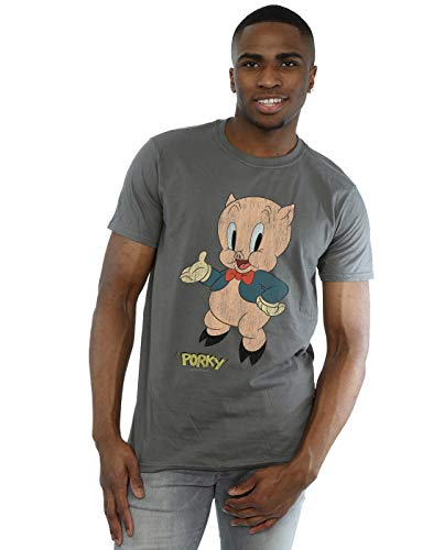 Looney Tunes Men's Porky Pig Distressed T-Shirt Charcoal Large