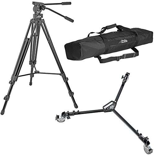 Davis & Sanford Provista 7518B Tripod with V18 Fluid Head plus Davis & Sanford W3 Universal Folding Dolly with 3'' Wheels by Davis & Sanford