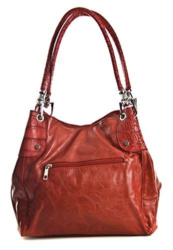 Vegan Womens Shoulder Handbag Pockets Multiple Big Shop Trim Leather Silver Coral Handbag Size Look Medium Classic w1vqfRg