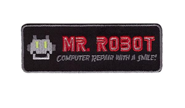 Grey Mr Robot Computer Repair With a Smile Cosplay Costume Embroidered Patch Iron On Parche Bordado Termoadhesivo by Titan One Europe