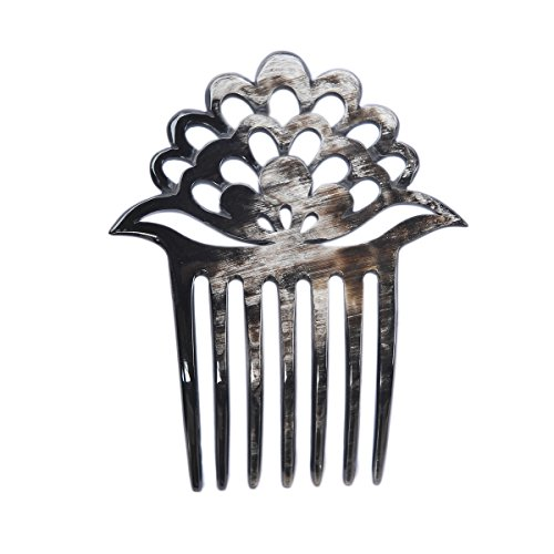 Marycrafts Lotus Flower Buffalo Horn 7 Prongs Hair Fork, Hair Side Comb, Hair Pin, Hair Accessory
