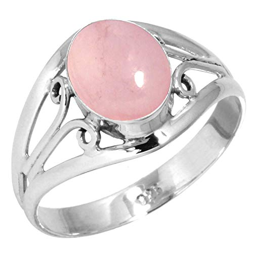 (Natural Rose Quartz Ring 925 Sterling Silver Handmade Jewelry Size 7)