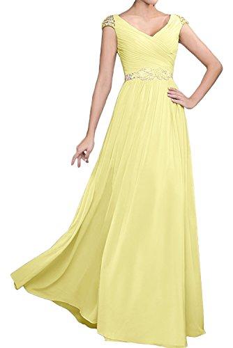 mujer Vestido para Topkleider amarillo trapecio dXwqdtnW1