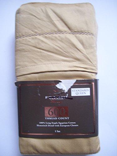- Fieldcrest Luxury, 100% Long-Staple Egyptian Cotton Pillowcase Set, 600 Thread Count, Horseraddish, STANDARD/QUEEN