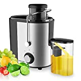 DEENKEE Compact Juice Extractor Fruit and Vegetable Juice Machine Wide Mouth Centrifugal Juicer, Easy Clean Juicer, Stainless Steel, Dual-Speed, 400w, BPA-Free