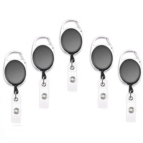 Card Reel - Fushing 5PCS Retractable Badge Holder Carabiner Reel Clip On ID Card Holders (Black)