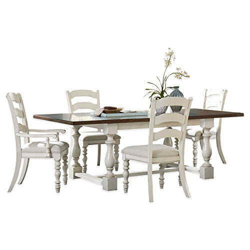 5-Piece Dining Set with Ladder Back Side Chairs in Old White