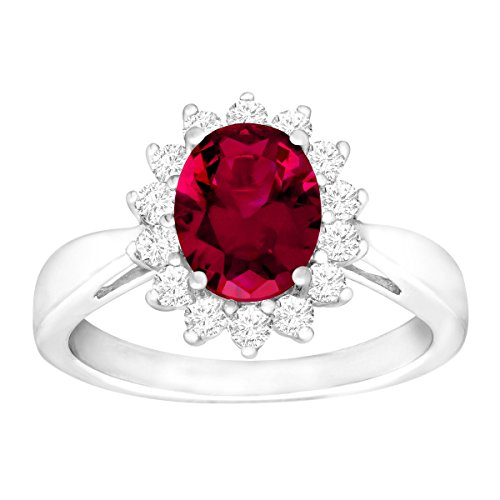 Oval Cut Created Ruby (3 1/6 ct Oval-Cut Created Ruby and White Sapphire Ring in Sterling Silver, Size 7)