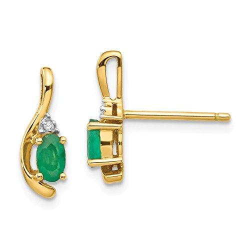 14k Yellow Gold Diamond Green Emerald Post Stud Earrings Drop Dangle Birthstone May Set Style Fine Jewelry For Women Gift Set