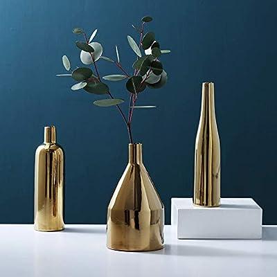 Purzest Decor Vases Set,Gold Metallic Vase, Set of 3