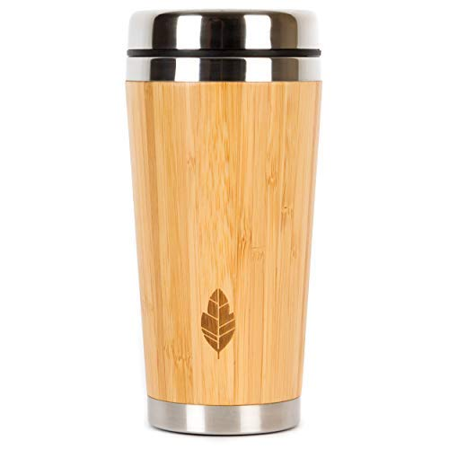 Wood Travel Insulated Coffee Cup | Stainless Steel Bamboo Mug with Lid | Cool Coffee Mugs for Men, Women | Unique Gift | 100% Eco-Friendly and Eco-Safe, 14 Ounces / 480 ml