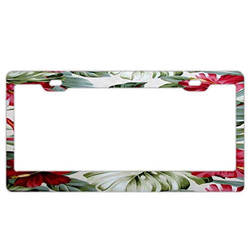 Red Hibiscus Floral on Cream Tropical Hawaii License Plate Frame, 2 Holes Auto Car License Plate Frame Tag Holder with Screws Caps, Slim Aluminum Metal for US Vehicles