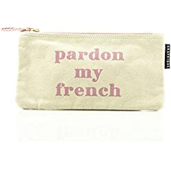 "Graphique""Pardon My French"" Small Zip Pouch - Thick Cotton Canvas Storage Bag w/Inside Liner and Zipper, Great for Storing Keys, Phone, Notes, and More, 9.25"" x 5"""