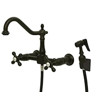 Kingston Brass KS1245AXBS Wall Mount Kitchen Faucet with Brass Sprayer, Oil Rubbed Bronze