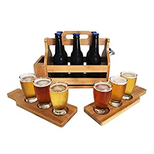 Wooden 6-Pack Beer Carrier / Holder / Tote, Comes With Two Beer Flights, Holder, Mounted Bottle Opener