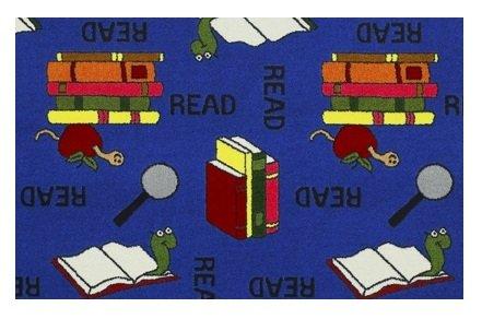 Bookworm Blue - 2'x3' Custom Stainmaster Premium Nylon Carpet Area Rug ~ Bound Finished Edges