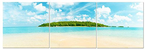Stunning Views Beautiful Island Ocean Beach View - Multi Panel Split Canvas Wall Art Set - 24 x 24 3 piece (Total size 24 x 72 inch) – Gallery wrapped & framed décor piece – Ready to hang!