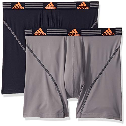 adidas Men's Sport Performance Boxer Briefs Underwear (2 Pack), Grey/Legend Ink Blue/Solar Orange Legend Ink Blue/, MEDIUM