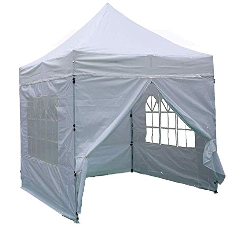 Delta 8'x8' White - EZ Pop up Canopy Party Tent Instant Gazebo 100% Waterproof Top with 4 Removable Sides Canopies
